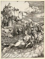 """Albrecht Dürer's """"The Sea Monster,"""" an engraving from around 1498"""
