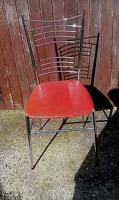 #Chrome #metal and #vinyl seat dining chairs. 60s / 70s original vintage retro.,  View more on the LINK: http://www.zeppy.io/product/gb/2/161998901091/