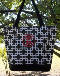 Monogrammed Black and White Overlapping Squares Tote | The Old Bag's Bags