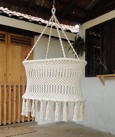 HANGING MACRAME CRADLE® Ecru Cream 100% cotton by Ateliertricot