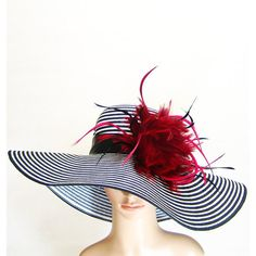Derby Hat with burgundy red feathers Kentucky Derby Hat BLACK & WHITE... ($60) ❤ liked on Polyvore