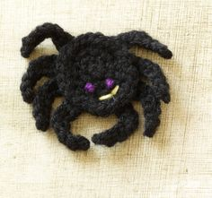 Free Crochet Pattern: Halloween Spider Magnet...would make an adorable pin for a sweater or inexpensive teacher gift :)