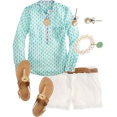 A fashion look from April 2013 featuring long-sleeve shirt, short shorts and tory burch sandals. Browse and shop related looks. Short Outfits, New Outfits, Summer Outfits, Summer Clothes, Preppy Style, Style Me, Preppy Casual, Classy Outfits, Casual Outfits