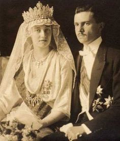 Grand Duchess Charlotte of Luxembourg (1896-1985) wears the Empire Tiara at her wedding to Prince Felix of Bourbon-Parma (1893-1970) in 1919