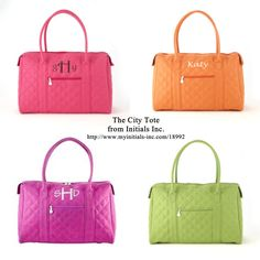 The City Tote from Initials Inc.with free personalization   http://www.myinitials-inc.com/18445