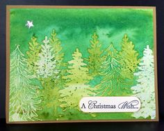 handmade Christmas card: Layered Batik Resist Trees by salome000 ... beautiful greens ... variety of tree images ... wonderderful!!