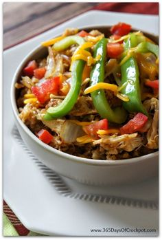 Slow Cooker Chicken Fajita Rice Bowls