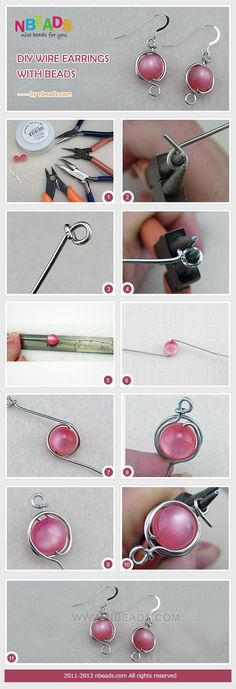 craft tutorials : DIY Wire Earrings with Beads â?? Nbeads