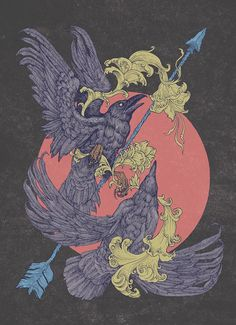 By Juan Pablo Ramírez ~ Hugin & Munin are Odin's ravens. The story says that Odin sends the ravens out at dawn to fly the entire world. They return, sitting on Odin's shoulders, and tell him everything they saw. Hugin is Thought. Munin is Memory. Memory had an even more important role in a time in which knowledge was memorized rather than written down. Munin is also translated as Mind, with the suggestion that thought and mind are separate companions.**