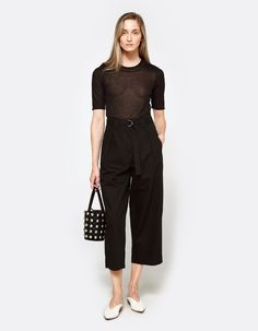 High Waisted Crop Pant with Belt