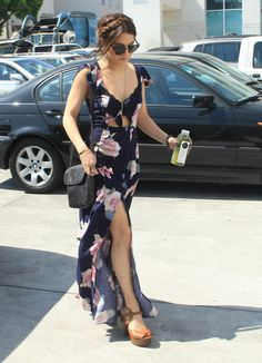 Floral Dress, Long, Vanessa Hudgens, braided updo