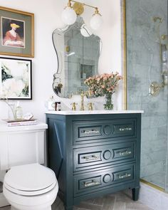 One Room Challenge, The Reveal: A small, luxurious Parisian bathroom Our small DIY luxe Parisian master bathroom renovation contains modern and vintage elements, a vanity painted in BM Salamander marble flooring and a marble shower and plenty of shiny bra Parisian Bathroom, Small Bathroom Vanities, Marble Bathrooms, Bathroom Ideas, Gold Bathroom, Brown Bathroom, Bathroom Cabinets, Bathroom Modern, Bathroom Pictures