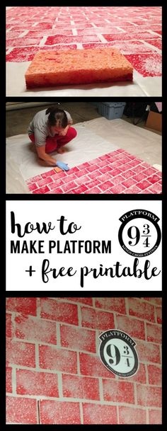 DIY Harry Potter Platform 9 3/4 with free printable! Make your own Kings Cross Station platform 9 3/4 to the Hogwarts express for Harry Potter party decorations. | Harry Potter | Harry Potter Decor | Courtesy: http://www.papertraildesign.com/diy-harry-potter-platform-9-34/