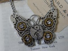 Lge Vintage STEAMPUNK Butterfly Pendant Necklace with Rhinestones - Bling Butterfly Fashion, Butterfly Pendant, Steampunk Fashion, Rhinestones, Fashion Jewelry, Bling, Pendant Necklace, Bracelets, Ebay