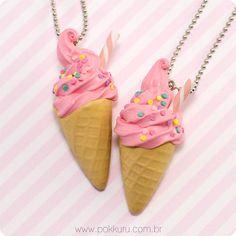 colar sorvete tutti frutti - sorvete de morango, casquinha  - bijuteria doce, bijoux, miniaturas, acessórios lolita brasil,infantil,festa, confetti, pokkuru