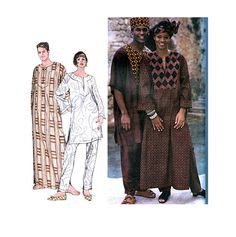 Simplicity 8895 Men's Women's CAFTAN DASHIKI TOP & Pants Pattern with Hat and Headwrap Pattern by DesignRewindFashions