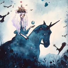 """""""Empress of Black Whispers """" now for aucti0n on the Bad Apple #fb page :) go go go and have her for yourself! #Inktober #inktober2016 #junel #juneleeloo #newcontemporary #newcontemporaryart #artcollectors #nantes #horse #unicorn #blackmagic #magical #whimsical"""