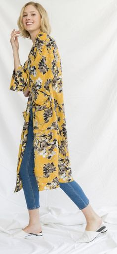 Pipe in detail printed kimono 100% polyester Casual Jeans, Mustard, Duster Coat, Kimono Top, Detail, Printed, Jackets, Tops, Women