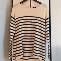 Super cute H&M sweater Cream color with navy blue stripes, long sleeves, boxy fit that's so in right now. Perfect condition. Only worn a few times. H&M Sweaters Crew & Scoop Necks