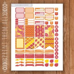 Autumn Fall Leaf Printable Planner Stickers by PrintThemAllStudio