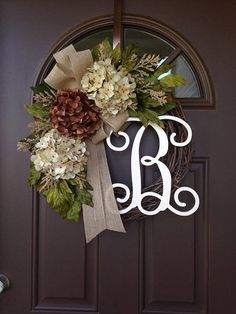 Picture#4 shows script alphabet (12) Picture #5 shows curly alphabet ( 8)  ***The style of the wreath pictured is 12cream script.***    This lovely wreath will make a wonderful addition to your home decor or a thoughtful gift for a special person or occasion Beautiful wreath with 3 hydrangea blossoms surrounded by hydrangea and peony leaves and additional fillers , accented with burlap bow. Made on 18 grapevine wreath base, finished product measures approximately 19-20  in diameter. Add…