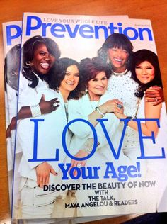 Hot off the press! Check out the hosts on @Prevention Magazine cover! Watch #TheTalk's #LoveYourAge show tomorrow 7/23!!