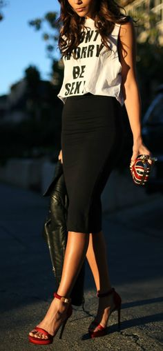 pencil skirt & graphic tee