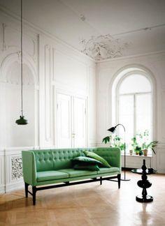 Mid century green sofa. Designer chic. Room renovation. // Designer's Take on Our Living Room: {Casey Keasler}