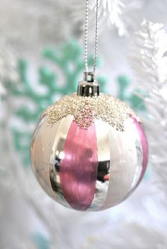 Pink Striped Vintage Christmas Ornament