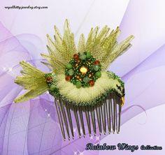 Green bird comb bird comb bird hair accessory by RoyalKittyJewelry Handmade Jewelry, Unique Jewelry, Handmade Gifts, Fantasy World, Hair Accessory, Bird, Trending Outfits, Create, Green
