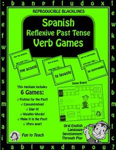 Spanish Reflexive Past Tense Verb Games - Games and Lesson Plans ...