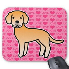 Yellow Labrador Retriever Love Mouse Pads #labradorretriever #lab #dog