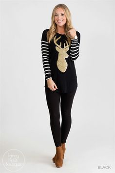 No ugly tunics here! Welcome the Holidays with this festive reindeer tunic sweater and be the envy of all the parties!