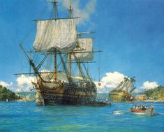 """Geoff Hunt Print - """"H.M.S. Trusty in English Harbour, Antigua"""" From Geoff Hunt's spectacular series of prints depicting dramatic naval actions associated with the War of Independence and the War of 1812. The 50-gun ship Trusty takes on stores. Fifty-gun ships were too small for battleships and too slow and unweatherly for anything else, but they did have two gun decks and twenty-four pounder cannon.   -- on ScrimshawGallery.com #GeoffHunt"""