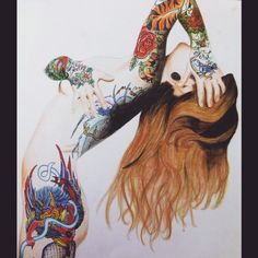 Tattooed girl - pencil drawing  #tattoo #drawing #pencil #girl Pencil Drawings Of Girls, Girl Tattoos, Instagram, Tattoo Women, Female Tattoos, Tattoo Girls