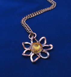 #Flower #daisy #pendant #floral #small #necklace #copper #jewelry