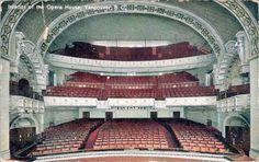 Vintage postcard showing interior of the Vancouver opera house. There's a postmark on the back from 1910.