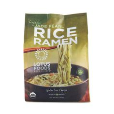 Slurp up your favorite Japanese-style noodles without having to worry about the gluten! Lotus Foods' game-changing ramen is made with organic, gluten-free jade pearl rice—not wheat—that's infused with chlorophyll-rich, wild-crafted bamboo extract. These q