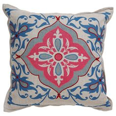 Delaware Pillow. Blue and pink sofa pillow
