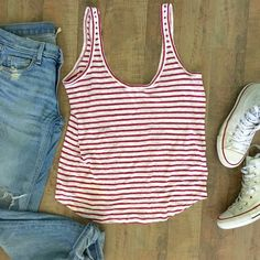 """PAIGE Celia Linen Tank PAIGE Celia linen tank. White with rose plum stripes. 27"""" length. Scooped neck and shirt tail hem. Paige Jeans Tops Tank Tops"""
