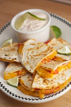 Roasted Squash Red Pepper and Jack Cheese Quesadillas with Chipotle Lime Sour Cream Dip - a fantastic fall appetizer Mexican Food Recipes, Vegetarian Recipes, Cooking Recipes, Fall Appetizers, Appetizer Recipes, Lime Sour, Sour Cream Dip, Roasted Squash, Roasted Butternut