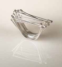 Ring | Gillian Batcher. 'Twig'. Sterling silver.