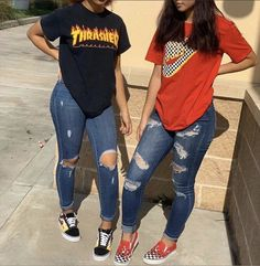 IGNORE blackgirls schoolfits sneakerhead boucles chaussures chaussures queenandclarence acefa … - New Sites Vans Outfit, Denim Outfit, Dope Fashion, School Fashion, Trendy Fashion, Zara Models, Prom, Ripped Skinny Jeans, Cute Casual Outfits