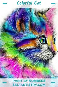 Colorful Rainbow Cat DIY Paint by Number Kit Framed/ Unframed Canvas + Paint + Brush Wall Decor Cute Animal Drawings, Art Drawings, Drawing Animals, Colorful Animals, Colorful Animal Paintings, Cat Colors, Cute Baby Animals, Diy Painting, Painting Canvas