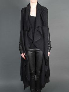 LONG KNITTED CARDIGAN WITH LEATHER SLEEVES by Isabel Benenato