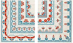 Borders w/ corners. Free sewing pattern graphs.