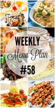 An all new weekly menu plan to help you plan out your week!!