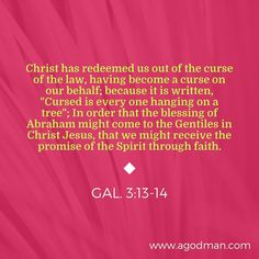 "Gal. 3:13-14 Christ has redeemed us out of the curse of the law, having become a curse on our behalf; because it is written, ""Cursed is every one hanging on a tree""; In order that the blessing of Abraham might come to the Gentiles in Christ Jesus, that we might receive the promise of the Spirit through faith. #Bible #Verse #Scripture quoted at www.agodman.com"
