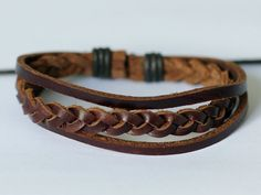 338 Handmade brown leather bracelet Braided leather rope Fashion sports jewelry Holiday gift man bracelet