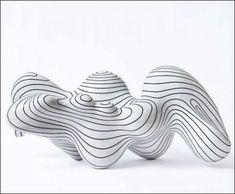 Steen Ipsen (Danemark) - sculpture en grès émaillé blanc et noir